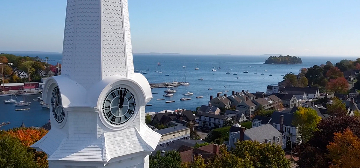 Maine church steeple built in composites by Lyman-Morse